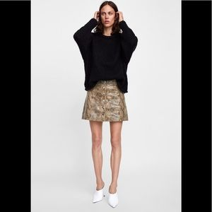 Zara Snakeskin Print Faux Leather Mini Skirt